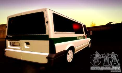 Ford Transit Policija para visión interna GTA San Andreas