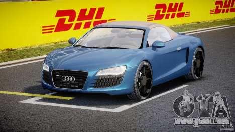 Audi R8 Spyder v2 2010 para GTA 4 vista hacia atrás