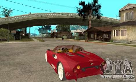 Spyker C8 Spyder para GTA San Andreas vista posterior izquierda