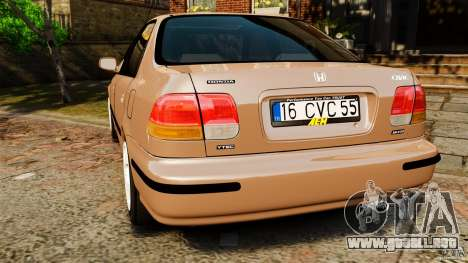 Honda Civic VTI para GTA 4 Vista posterior izquierda