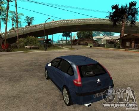 Citroen C4 SX 1.6 HDi para GTA San Andreas vista posterior izquierda