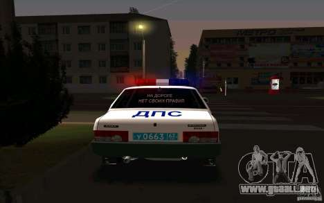 Vaz 21099, policía para GTA San Andreas vista posterior izquierda
