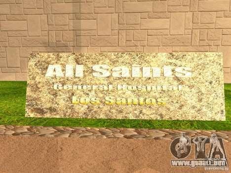 Nuevo hospital Hospital-nuevo para GTA San Andreas sexta pantalla