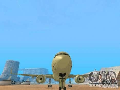 Boeing 737-800 Lufthansa para GTA San Andreas vista hacia atrás