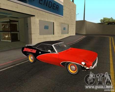 Plymouth Cuda Ragtop 1970 para GTA San Andreas vista hacia atrás