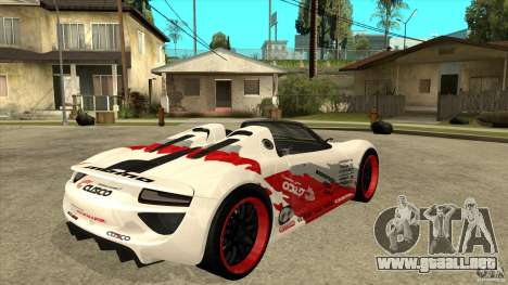 Porsche 918 Spyder Consept para la visión correcta GTA San Andreas