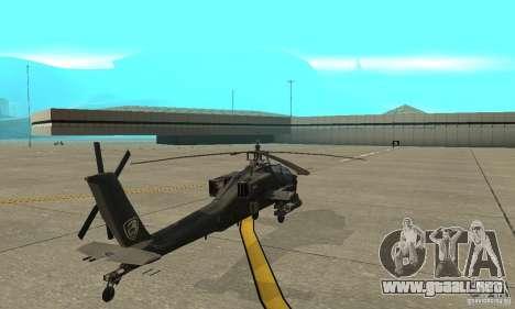 An-64 Apache para GTA San Andreas vista posterior izquierda