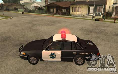 Ford Crown Victoria SFPD 1992 para GTA San Andreas left