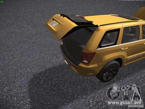 Jeep Grand Cherokee SRT8 para vista lateral GTA San Andreas