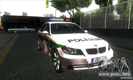 BMW 330 E90 Policija para GTA San Andreas vista hacia atrás