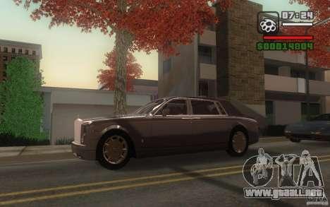 Rolls-Royce Phantom EWB para GTA San Andreas vista hacia atrás