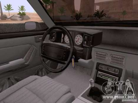 Ford Mustang GT 5.0 Convertible 1987 para vista inferior GTA San Andreas