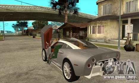 Spyker C8 Aileron para GTA San Andreas vista posterior izquierda
