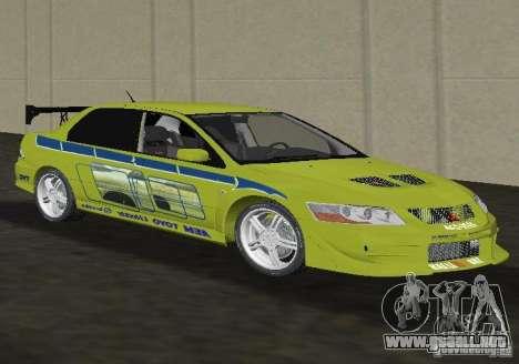 Mitsubishi Lancer Evolution VII para GTA Vice City visión correcta