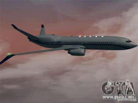 Boeing 737 Iron Man Bussines Jet para GTA San Andreas vista hacia atrás