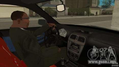 Subaru Impreza 2005 Mission Edition para visión interna GTA San Andreas
