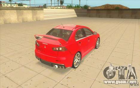 Mitsubishi Lancer Evolution X MR1 para GTA San Andreas vista posterior izquierda