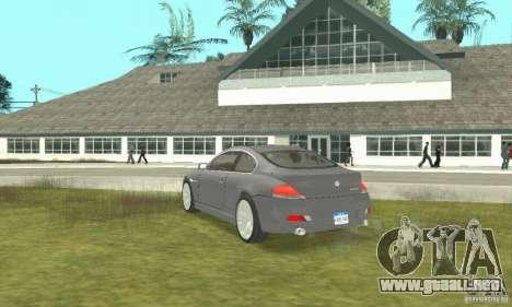 2004 BMW 645ci E63 con interior en blanco para GTA San Andreas left