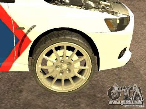 Mitsubishi Lancer X Police Indonesia para visión interna GTA San Andreas