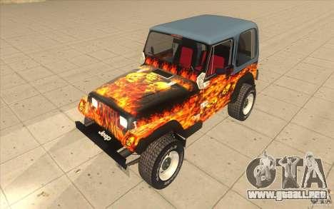 Jeep Wrangler 4.0 Fury 1986 para visión interna GTA San Andreas