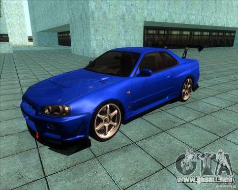 Nissan Skyline R-34 GT-R M-spec Nur para GTA San Andreas left