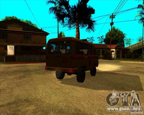Medical 3962 UAZ para GTA San Andreas vista posterior izquierda