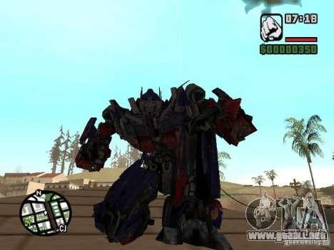 Optimus Prime para GTA San Andreas segunda pantalla