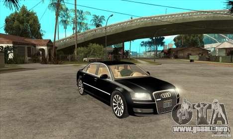 Audi A8 del portador 3 para GTA San Andreas vista hacia atrás