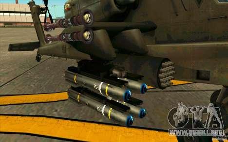 Apache AH64D Longbow para GTA San Andreas vista hacia atrás