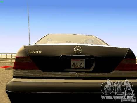 Mercedes-Benz S600 V12 para GTA San Andreas vista posterior izquierda