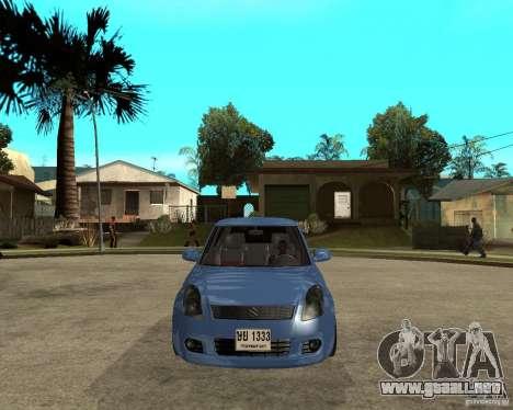 2007 Suzuki Swift para GTA San Andreas vista hacia atrás