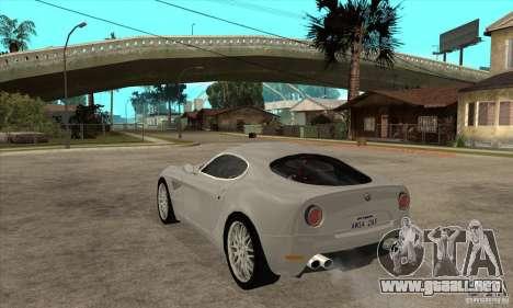 Alfa Romeo 8 c Competizione stock para la visión correcta GTA San Andreas
