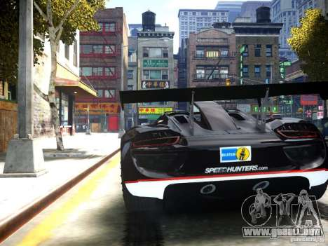 Porsche 918 Spider Body Kit Final para GTA 4 Vista posterior izquierda