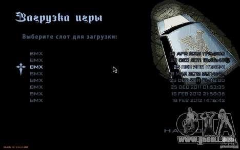 El menú del juego GTA Nogaystan para GTA San Andreas sucesivamente de pantalla