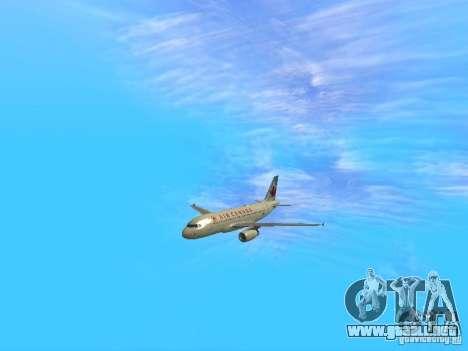 Airbus A319 Air Canada para GTA San Andreas vista hacia atrás