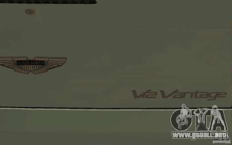 Aston Martin V12 Vantage para la vista superior GTA San Andreas