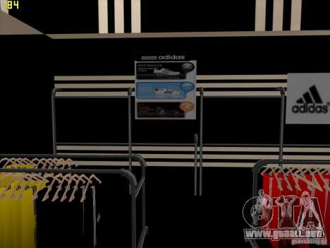 Reemplazo total de la tienda Binco Adidas para GTA San Andreas octavo de pantalla