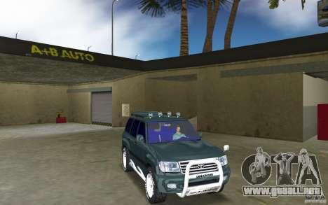 Toyota Land Cruiser 100 para GTA Vice City vista posterior