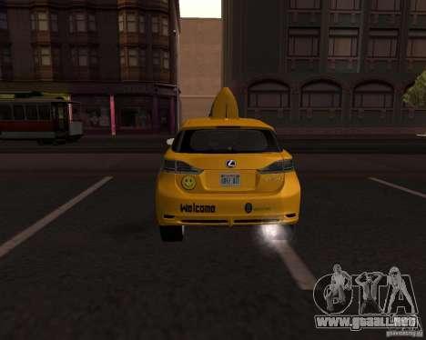 Lexus CT 200h 2011 Taxi para GTA San Andreas vista posterior izquierda
