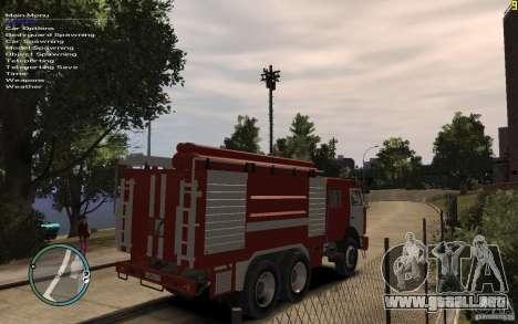 Kamaz bombero para GTA 4 Vista posterior izquierda