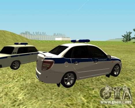 VAZ 2190 policía para GTA San Andreas vista posterior izquierda