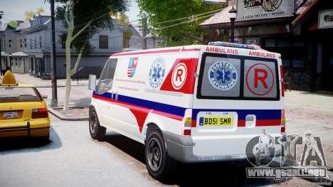 Ford Transit Polish Ambulance [ELS] para GTA 4 Vista posterior izquierda