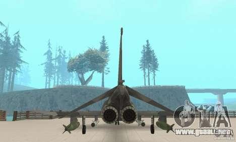 F-4E Phantom II para GTA San Andreas vista hacia atrás