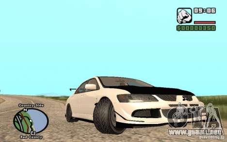 Mitsubishi Lancer Evolution 8 Carbon para GTA San Andreas vista posterior izquierda