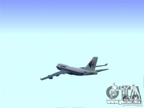 Boeing 747-400 Malaysia Airlines para visión interna GTA San Andreas
