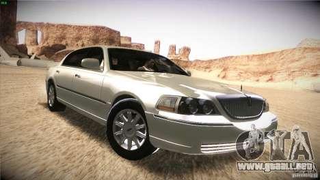Lincoln Towncar 2010 para visión interna GTA San Andreas