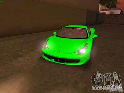 Ferrari 458 Italia para GTA San Andreas interior