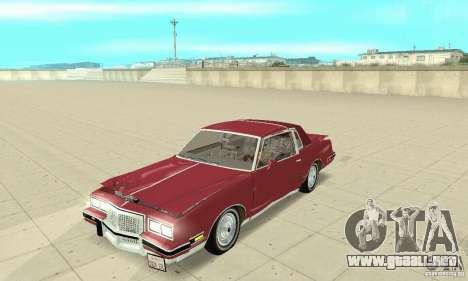 Pontiac Grand Prix 1985 para vista lateral GTA San Andreas