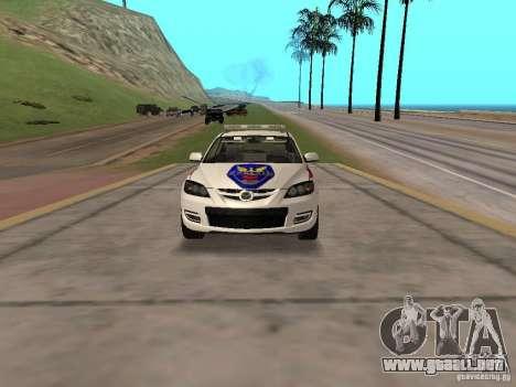 Mazda 3 Police para GTA San Andreas vista hacia atrás