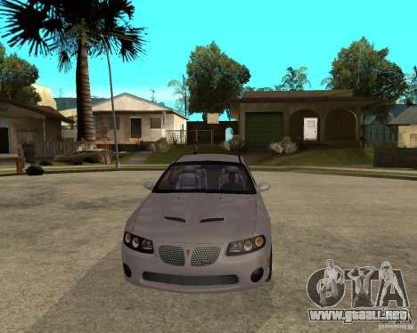 2005 Pontiac GTO para GTA San Andreas vista hacia atrás